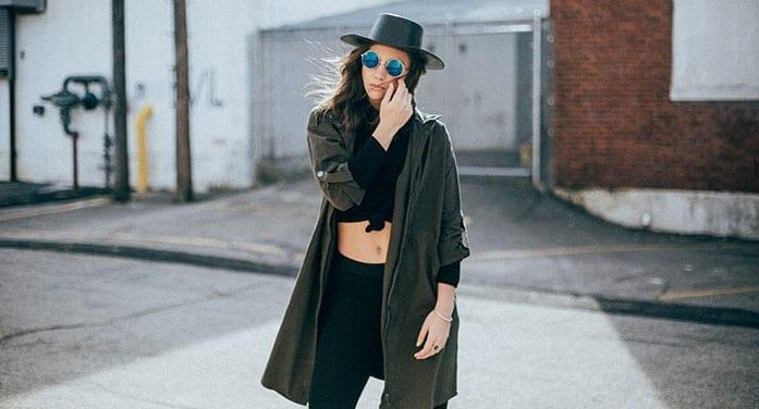 fashion model design hat sunglasses